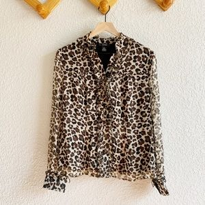 Women's Ruffled Leopard Print Long Sleeve Blouse
